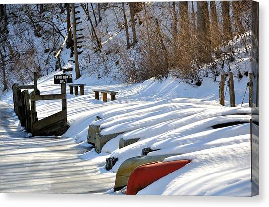 John Boats Canvas Print - Waiting On Spring 1 by Todd Hostetter