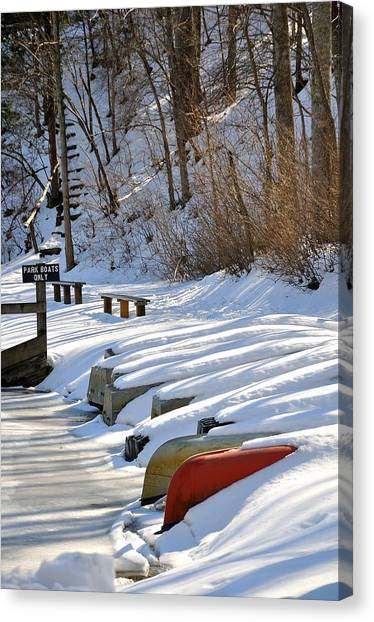 John Boats Canvas Print - Waiting On Spring by Todd Hostetter