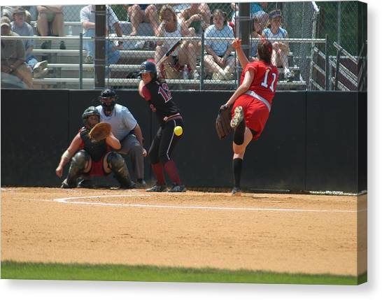 University Of Massachusetts Amherst Umass Amherst Canvas Print - Waiting On The Ball by Mike Martin
