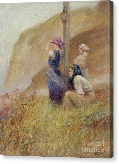Anxious Canvas Print - Waiting On The Cliffs by Robert Jobling
