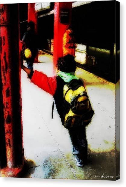 Waiting On The Q Train In Flatbush Canvas Print