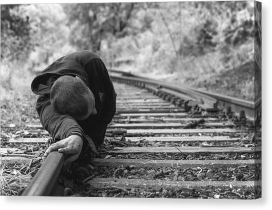 Waiting On The Rails Canvas Print