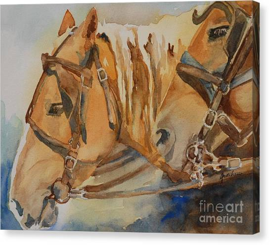 Draft Horses Canvas Print - Waiting Patiently by Gretchen Bjornson