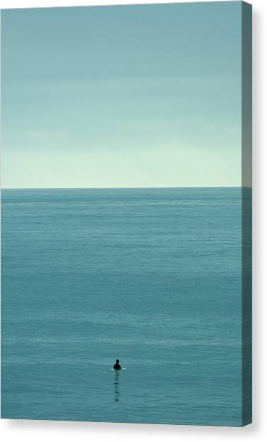 Surfboard Canvas Print - Waiting by Peter Tellone