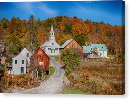 Waits River Church In Autumn Canvas Print