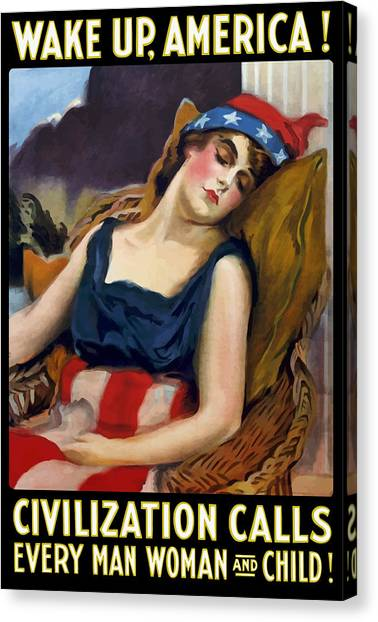 Lady Canvas Print - Wake Up America - Civilization Calls by War Is Hell Store
