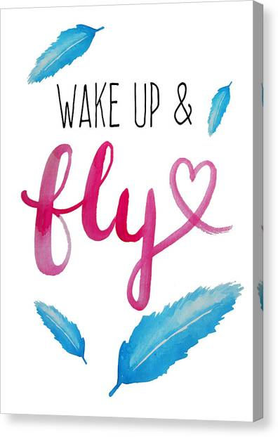 Feathers Canvas Print - Wake Up And Fly Watercolor by Michelle Eshleman