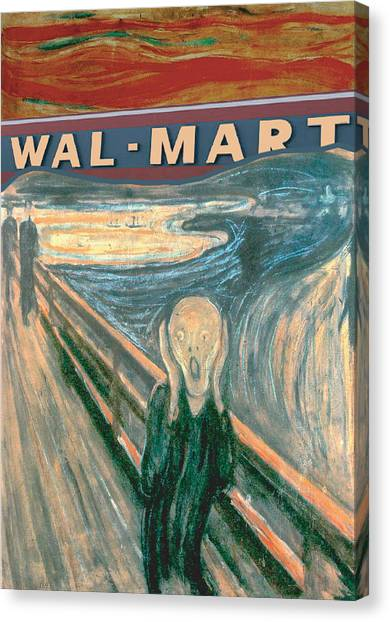 Workers Canvas Print - Wal-mart Scream by Ricardo Levins Morales