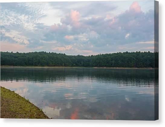 Walden Pond Canvas Print - Walden Pond Morning Light Concord Ma Red Clouds by Toby McGuire