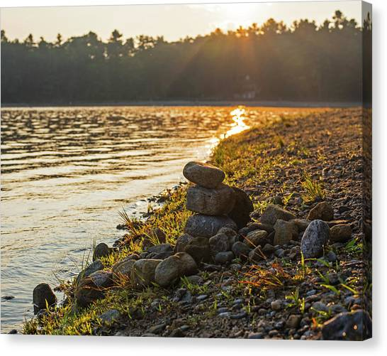 Walden Pond Canvas Print - Walden Pond Rock Cairn At Sunrise Concord Ma by Toby McGuire