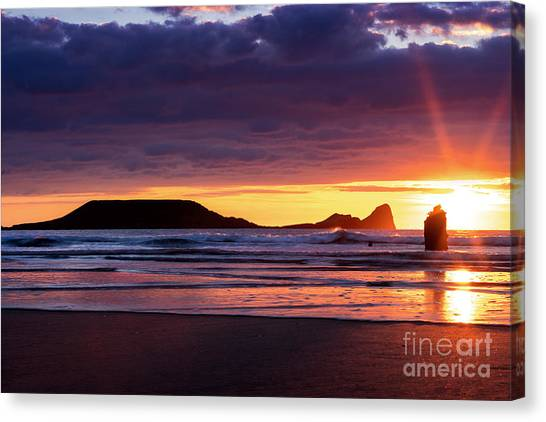Wales Gower Coast Helvetia Canvas Print