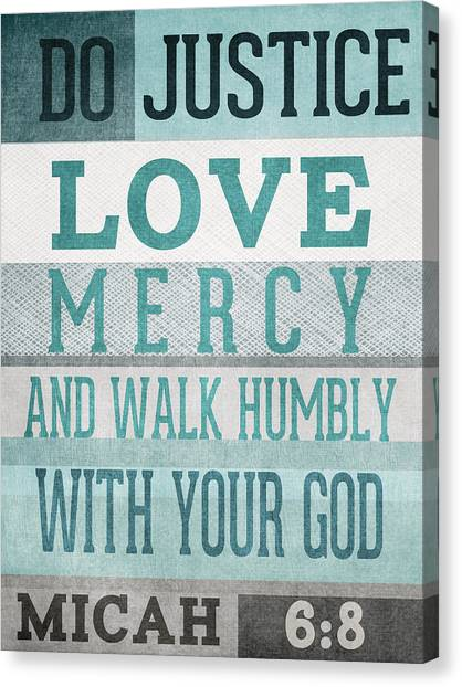 Biblical Canvas Print - Walk Humbly- Micah  by Linda Woods