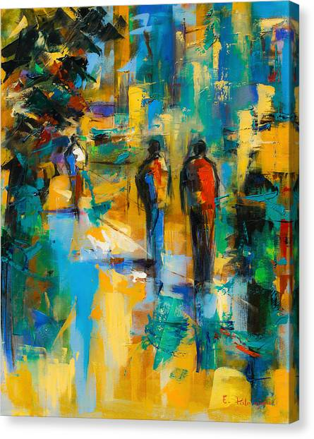 Fauvism Canvas Print - Walk In The City by Elise Palmigiani
