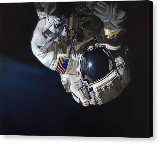 Astronauts Canvas Print - Walk Into Darkness  by Simon Kregar