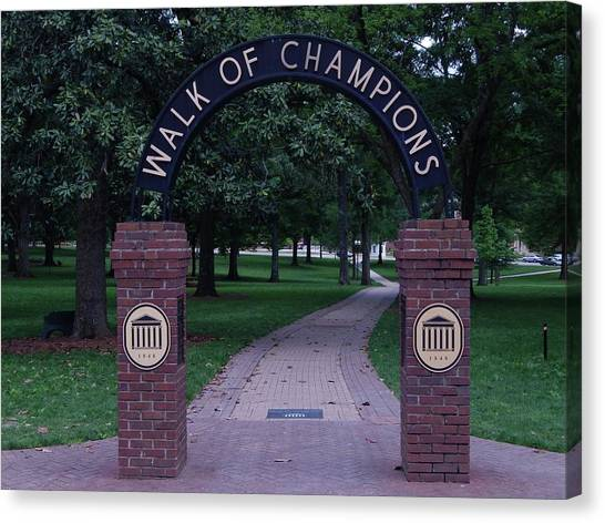 University Of Mississippi Ole Miss Canvas Print - Walk Of Champions At Ole Miss by Terry Cobb