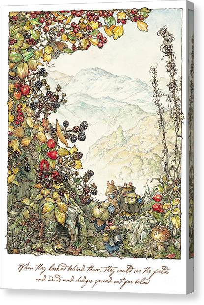 Blackberries Canvas Print - Walk To The High Hills by Brambly Hedge
