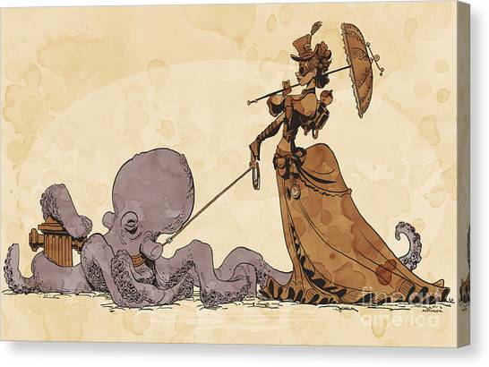 Octopus Canvas Print - Walkies For Otto by Brian Kesinger