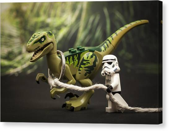 Velociraptor Canvas Print - Walkies by Samuel Whitton