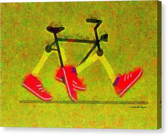 Nike Canvas Print - Walking Bike - Pa by Leonardo Digenio