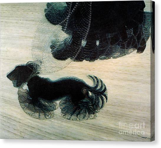 Dog Walking Canvas Print - Walking Dog On Leash by Mindy Sommers