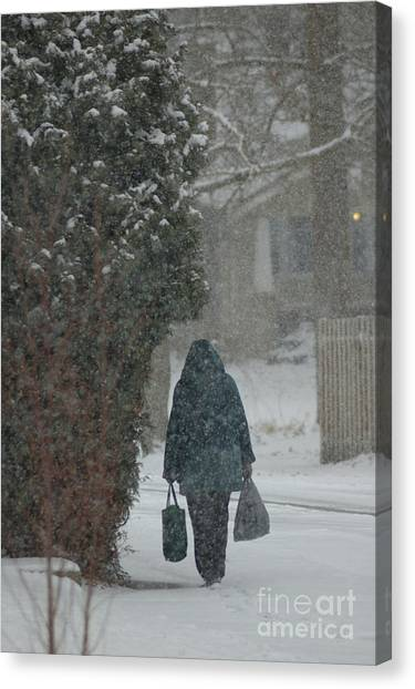 Walking Home In The Snow Canvas Print