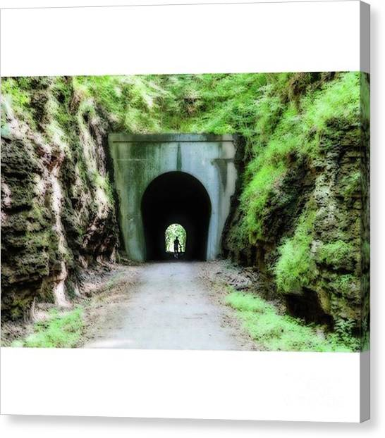 University Of Illinois Canvas Print - Walking In Darkness Tunnel Hill Bike by Larry Braun