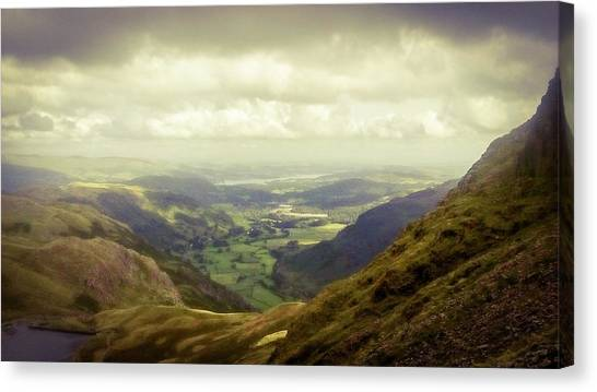 Walking In The Mountains, Lake District, Canvas Print