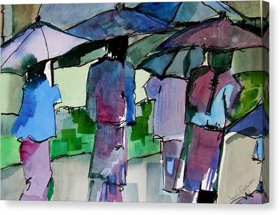 Canvas Print - Walking In The Rain by Jane Ferguson