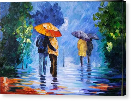 Walking In The Rain Canvas Print