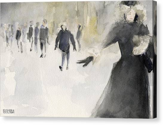 Walking In The Snow Canvas Print by Beverly Brown