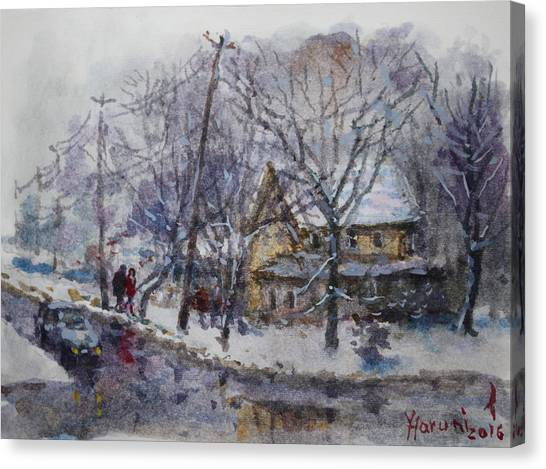 Snowfall Canvas Print - Viola And I Walking In The Winter by Ylli Haruni