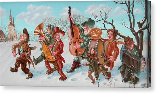 Walking Musicians Canvas Print
