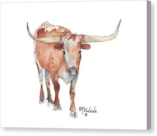 Walking Tall Texas Longhorn Watercolor And Ink By Kmcelwaine Canvas Print