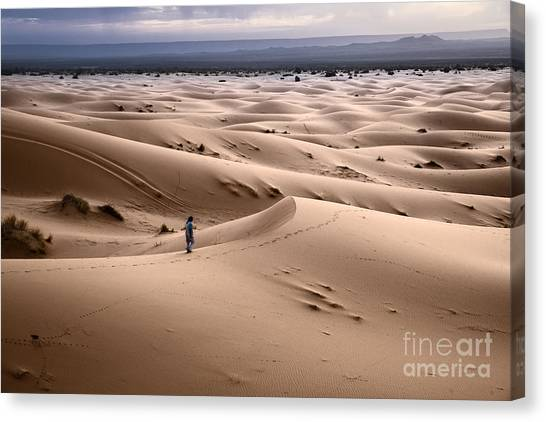 Sahara Desert Canvas Print - Walking The Desert by Yuri Santin