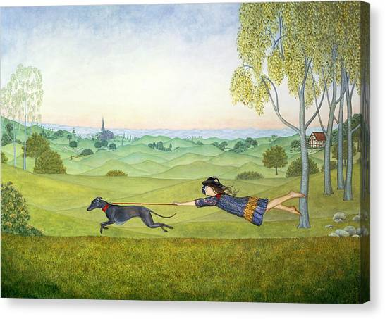 Rolling Hills Canvas Print - Walking The Dog  by Ditz