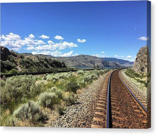 Trainspotting Canvas Print - Walking The Rails! #railroad #train by Mike Bennett
