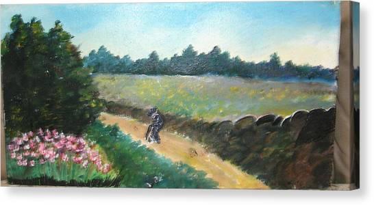 Walking To Town Canvas Print by Anne-Elizabeth Whiteway
