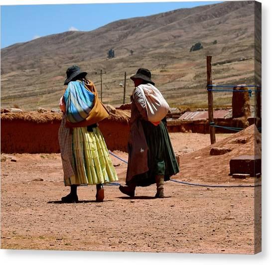 Cholitas Canvas Print - Walking Women by Sandy Taylor