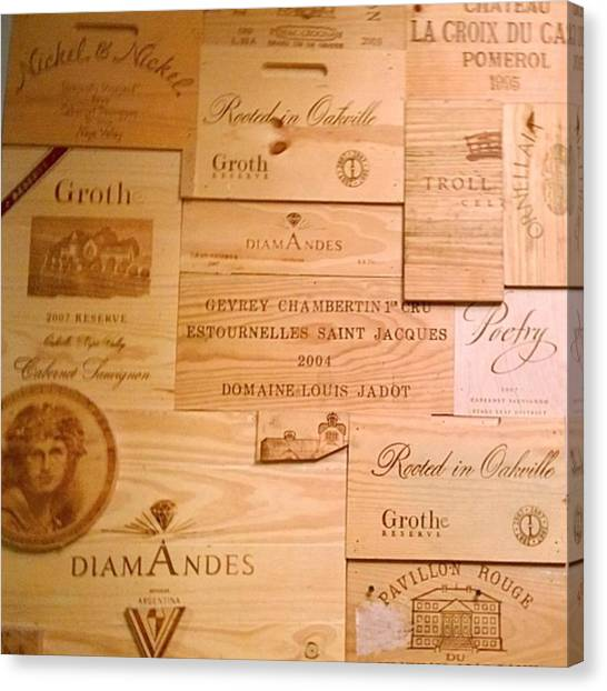 United States Of America Canvas Print - Wall Decorated With Used Wine Crates by Shari Warren