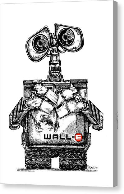 Pen And Ink Drawing Canvas Print - Wall-e by James Sayer