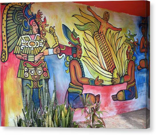 Wall Painting In A Mexican Village Canvas Print