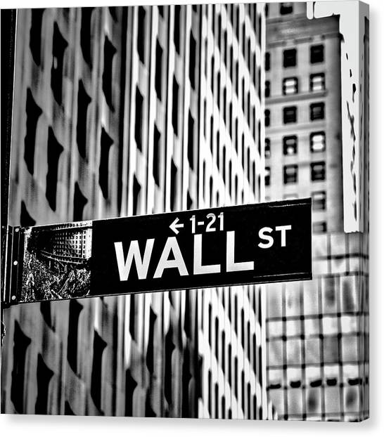 Street Signs Canvas Print - Wall St Sign New York In Black And White by Garry Gay