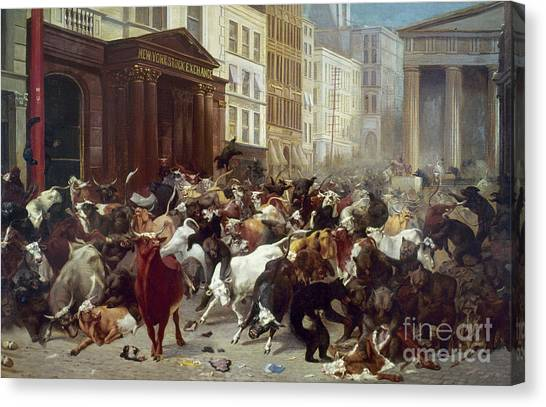 Wall Street: Bears & Bulls Canvas Print