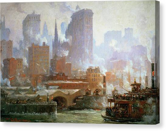 Pollution Canvas Print - Wall Street Ferry Ship by Colin Campbell Cooper