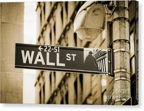 Canvas Print featuring the photograph Wall Street by Juergen Held