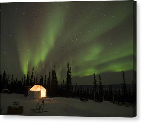 Wall Tents And Aurora Canvas Print