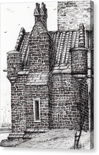 Pen And Ink Drawing Canvas Print - Wallace Monument  The Small House by Vincent Alexander Booth