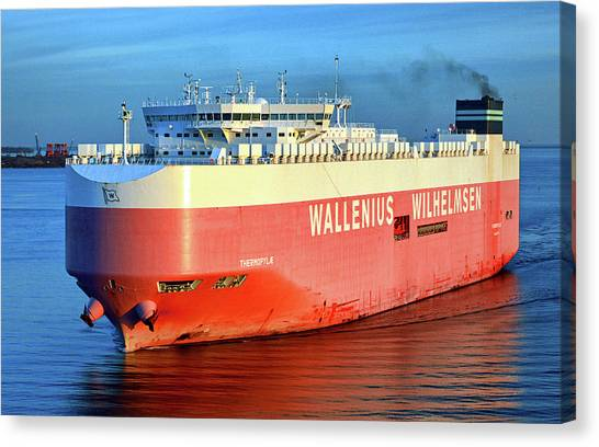 Canvas Print featuring the photograph Wallenius Wilhelmsen Thermopylae 9702443 On The Patapsco River by Bill Swartwout Fine Art Photography