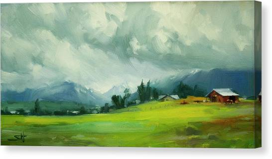 Rain Forest Canvas Print - Wallowa Valley Storm by Steve Henderson
