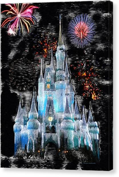 Fireworks Canvas Print - Walt Disney World Frosty Holiday Castle Mp by Thomas Woolworth